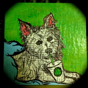 Magazine paper, paint, Mod Podge, and a childhood friend's Westie.